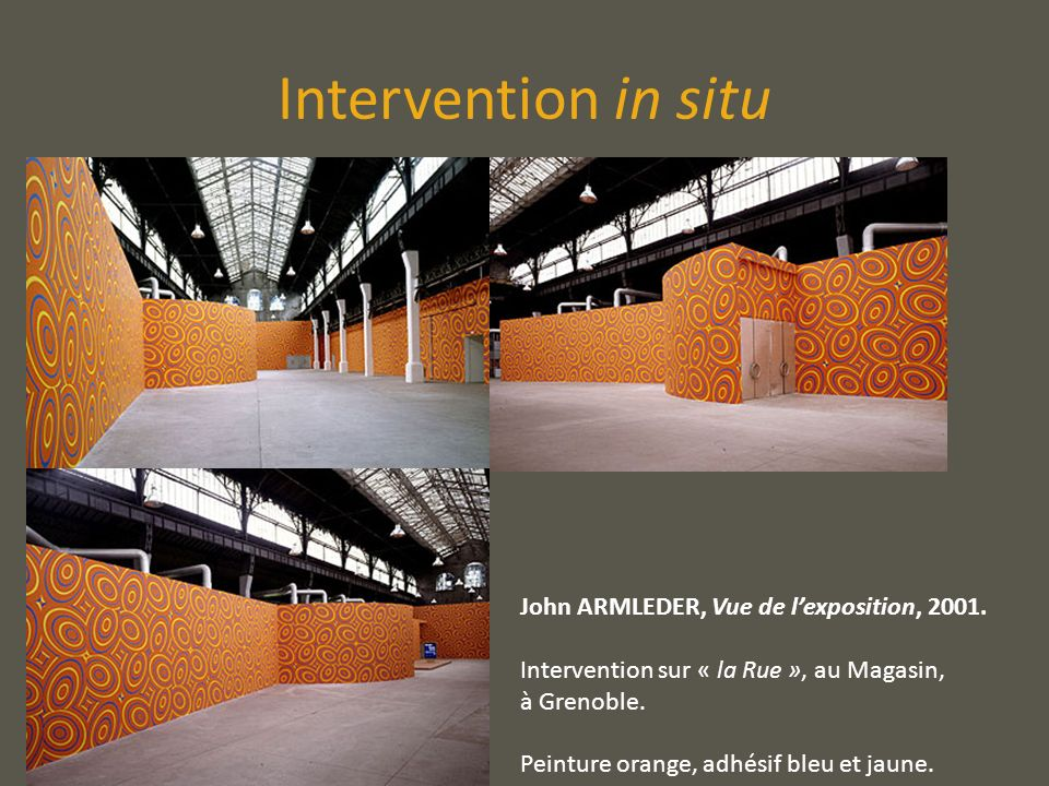 Intervention in situ John ARMLEDER, Vue de l'exposition, 2001.