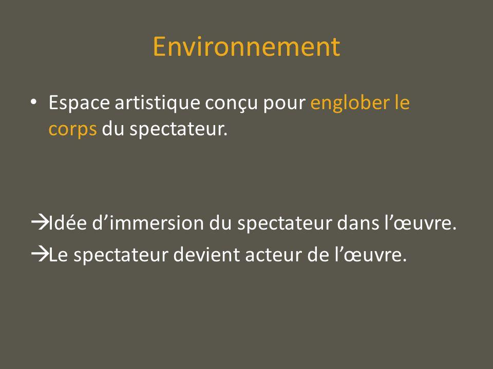EnvironnementEspace artistique conçu pour englober le corps du spectateur. Idée d'immersion du spectateur dans l'œuvre.