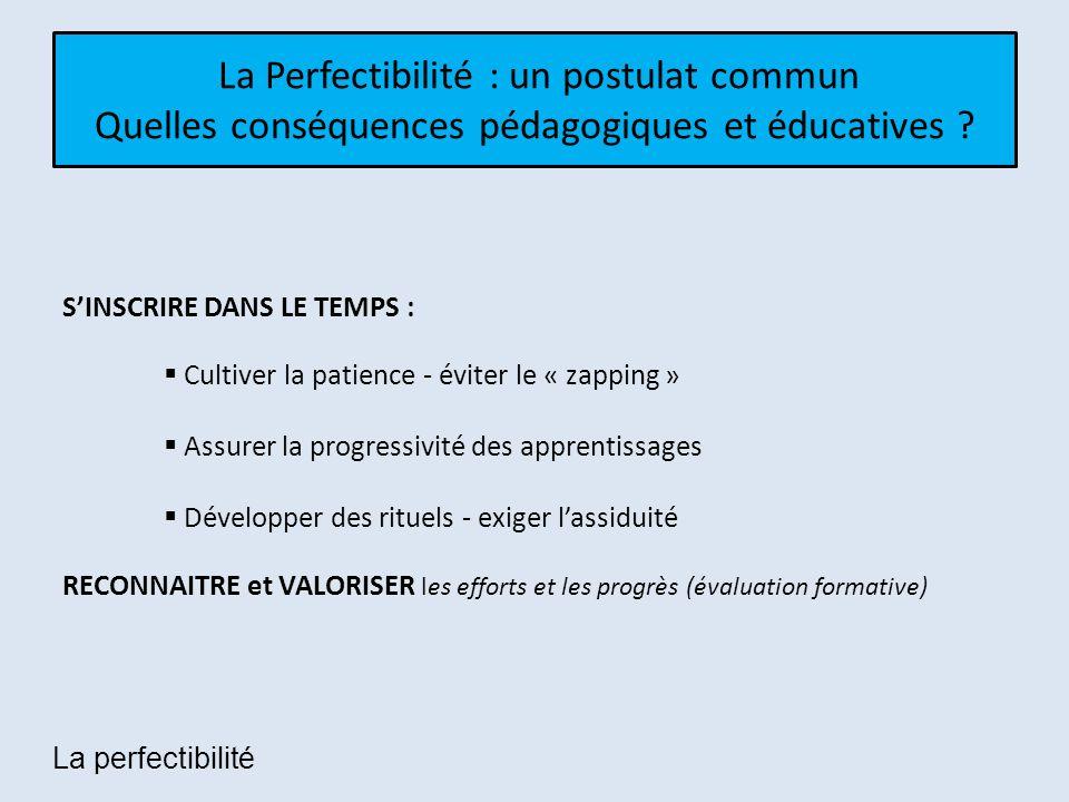 La Perfectibilité : un postulat commun Quelles conséquences pédagogiques et éducatives