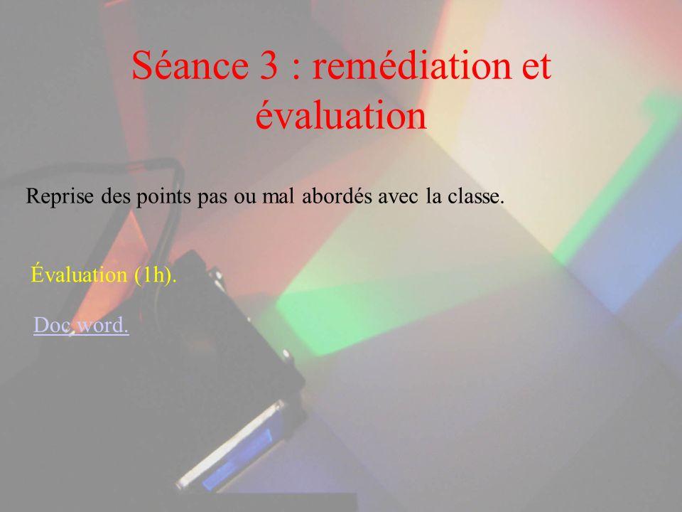 Séance 3 : remédiation et évaluation