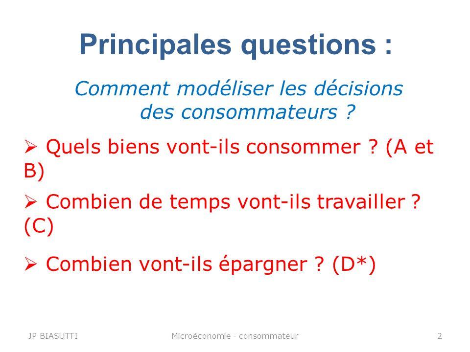 Principales questions :