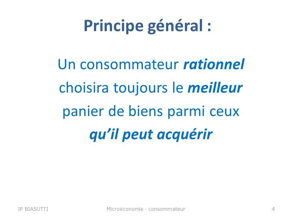 Principe général : Un consommateur rationnel