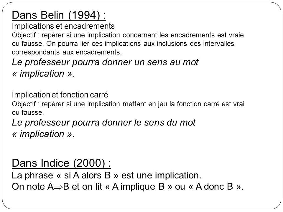 Dans Belin (1994) : Dans Indice (2000) :