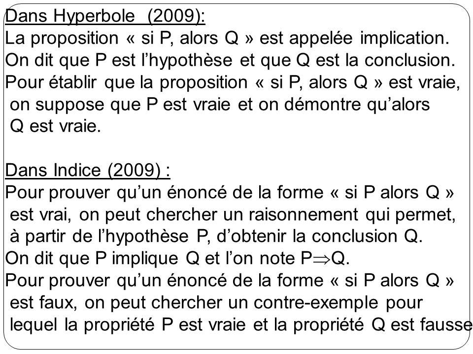 Dans Hyperbole (2009): La proposition « si P, alors Q » est appelée implication. On dit que P est l'hypothèse et que Q est la conclusion.