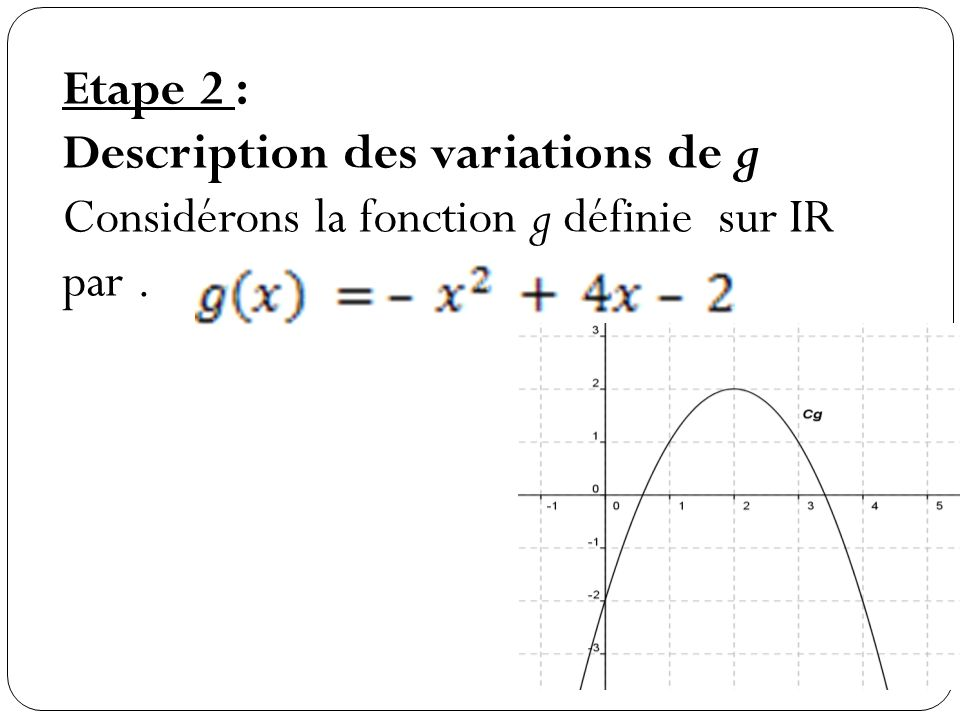 Description des variations de g