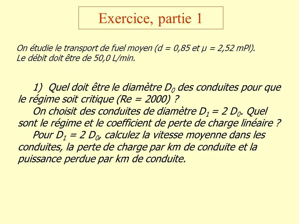Exercice, partie 1 On étudie le transport de fuel moyen (d = 0,85 et µ = 2,52 mPl). Le débit doit être de 50,0 L/min.