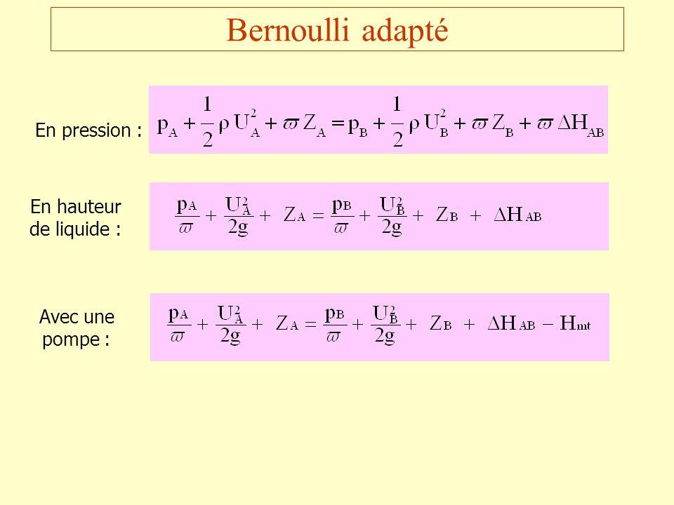Bernoulli adapté En pression : En hauteur de liquide :