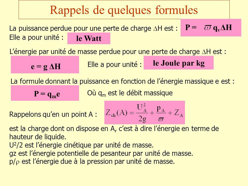 Rappels de quelques formules
