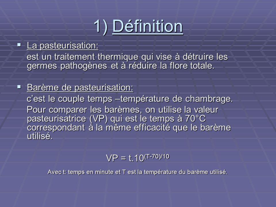 Avec t: temps en minute et T est la température du barème utilisé.