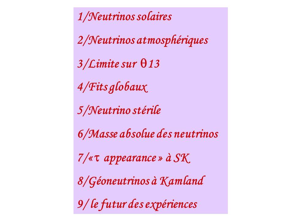1/Neutrinos solaires 2/Neutrinos atmosphériques. 3/Limite sur q13. 4/Fits globaux. 5/Neutrino stérile.