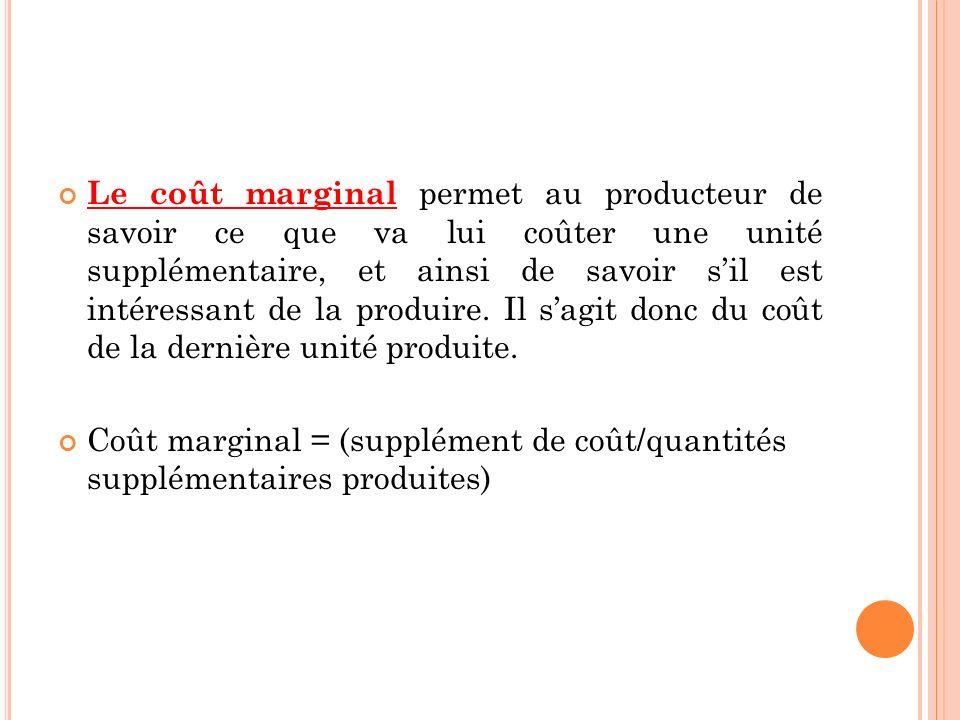 Le coût marginal permet au producteur de savoir ce que va lui coûter une unité supplémentaire, et ainsi de savoir s'il est intéressant de la produire. Il s'agit donc du coût de la dernière unité produite.