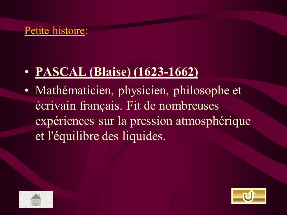 Petite histoire: PASCAL (Blaise) (1623-1662)