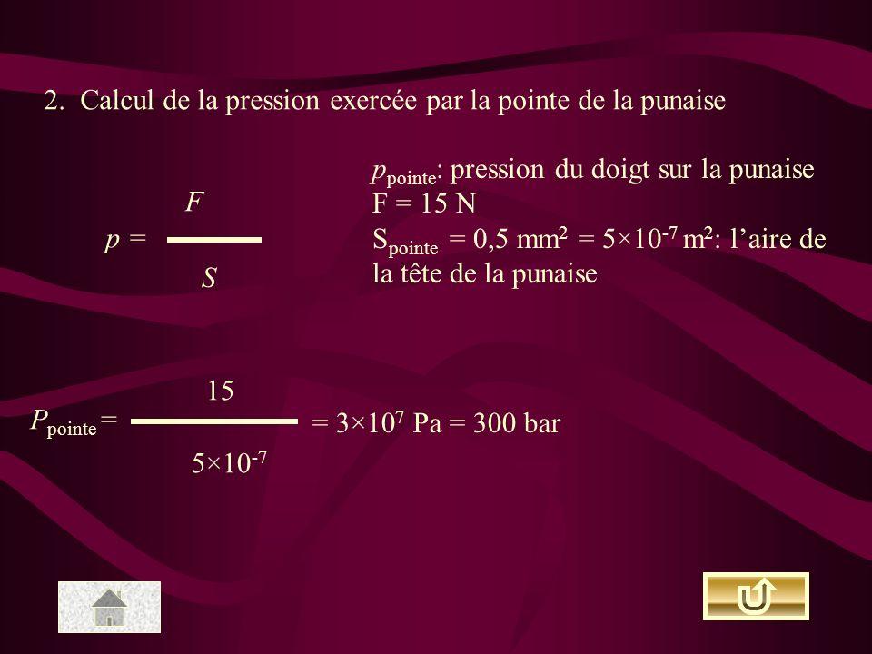 2. Calcul de la pression exercée par la pointe de la punaise