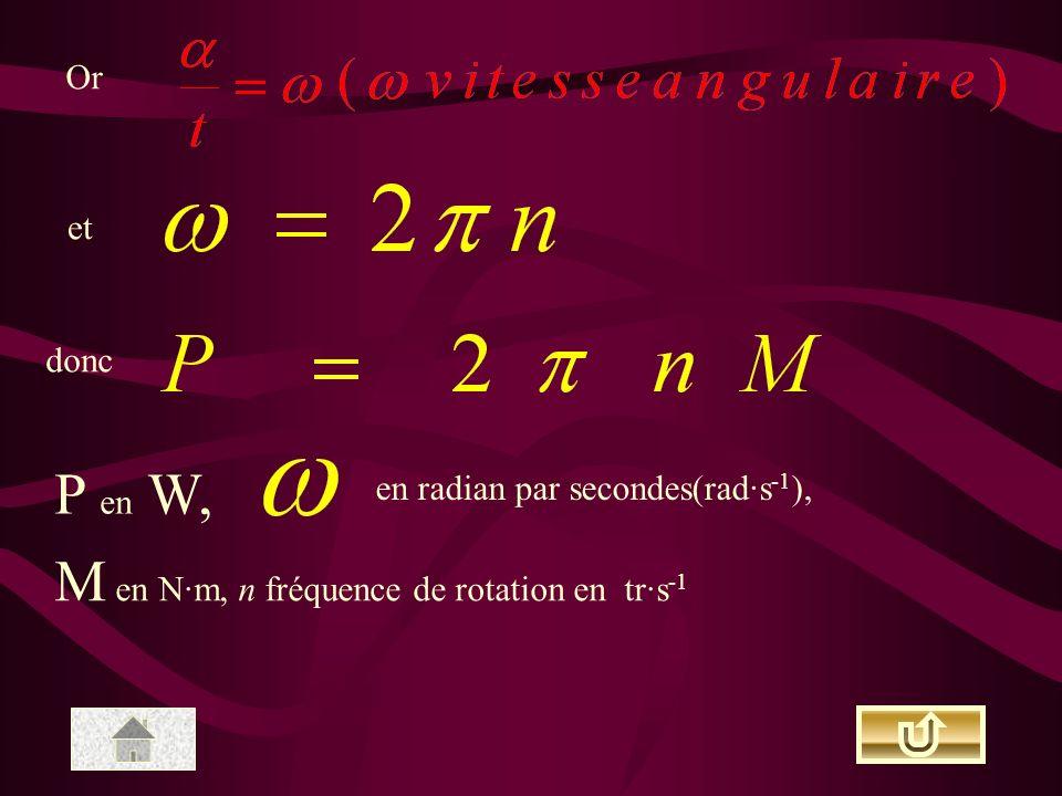 M en N·m, n fréquence de rotation en tr·s-1
