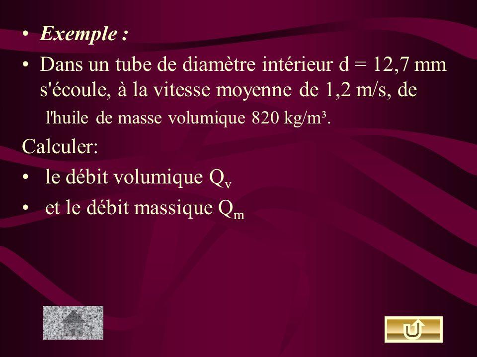Exemple : Dans un tube de diamètre intérieur d = 12,7 mm s écoule, à la vitesse moyenne de 1,2 m/s, de.