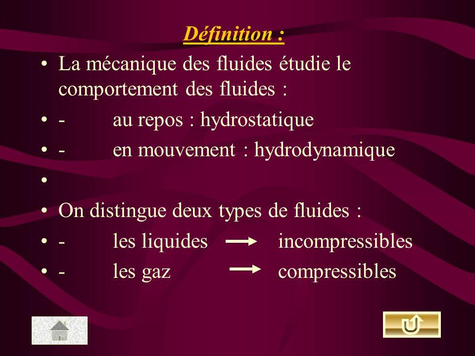 Définition : La mécanique des fluides étudie le comportement des fluides : - au repos : hydrostatique.