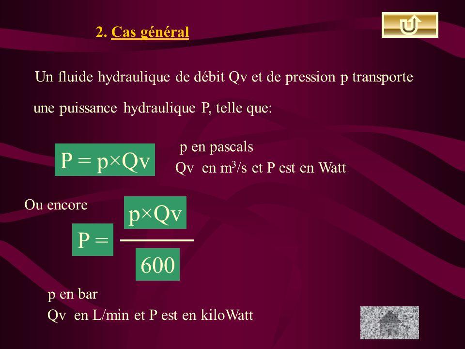 P = p×Qv p×Qv P = 600 2. Cas général
