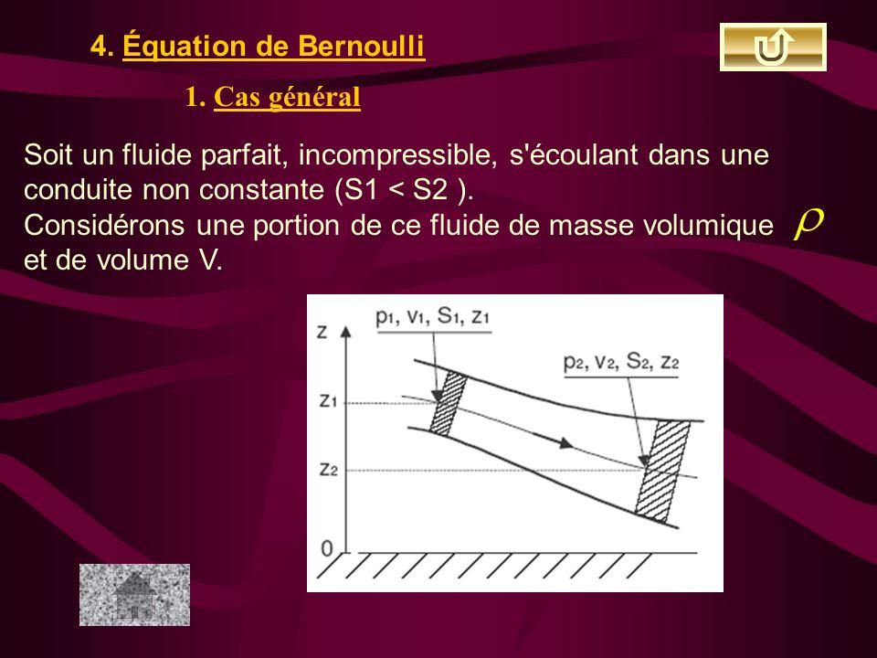 4. Équation de Bernoulli 1. Cas général. Soit un fluide parfait, incompressible, s écoulant dans une conduite non constante (S1 < S2 ).