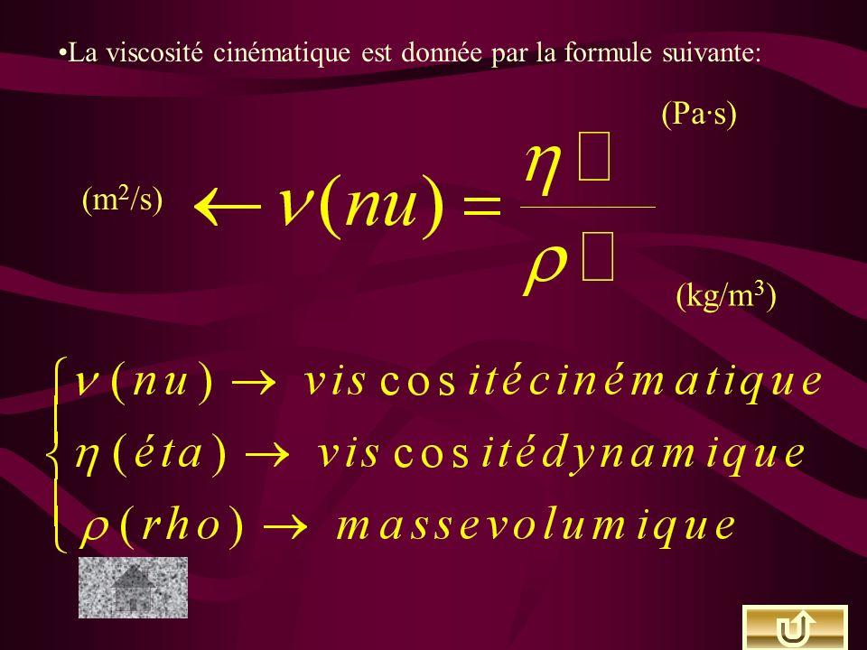 La viscosité cinématique est donnée par la formule suivante: