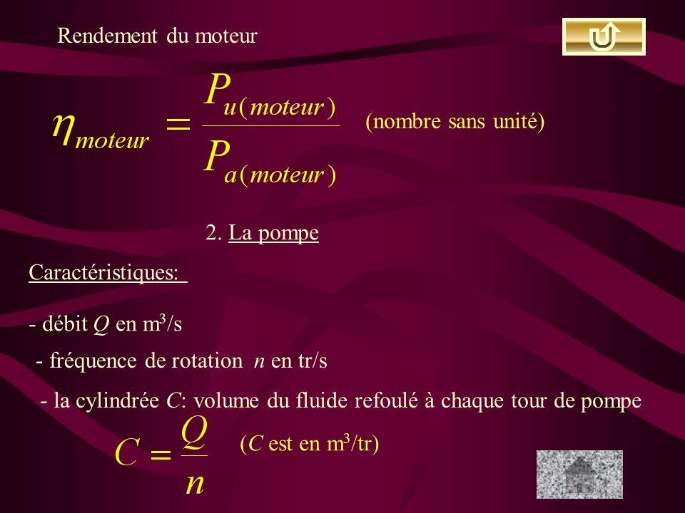 Rendement du moteur (nombre sans unité) 2. La pompe. Caractéristiques: - débit Q en m3/s. - fréquence de rotation n en tr/s.