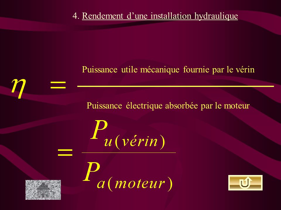 4. Rendement d'une installation hydraulique