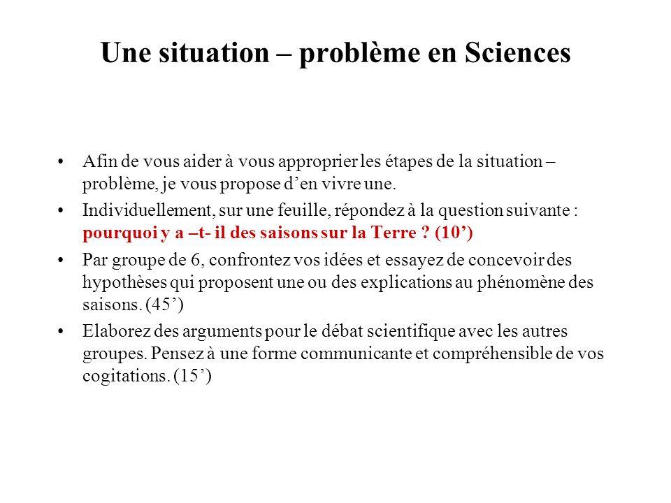 Une situation – problème en Sciences