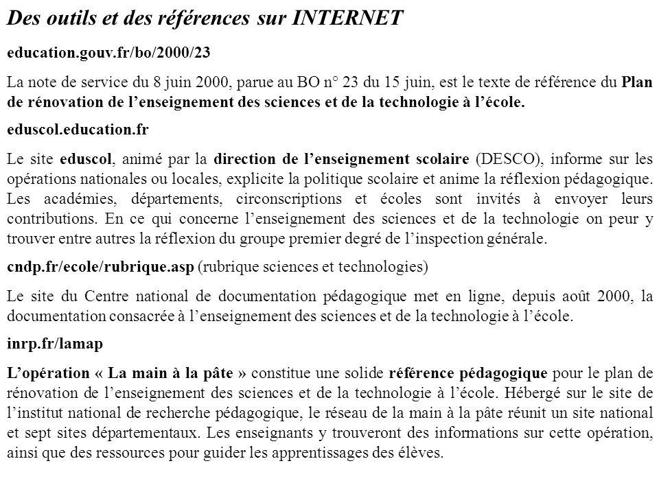 Des outils et des références sur INTERNET