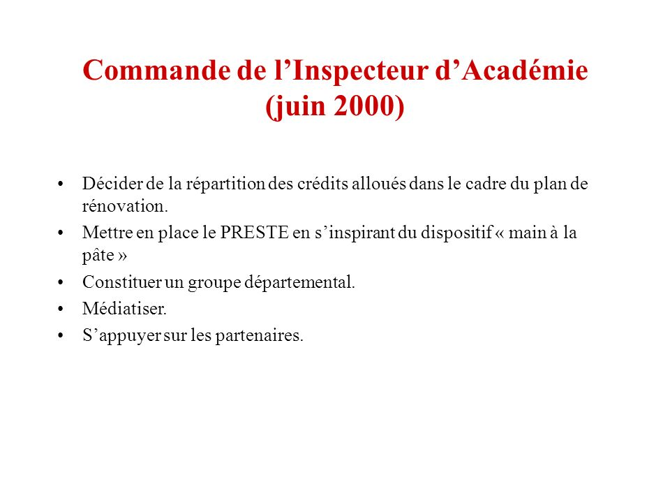 Commande de l'Inspecteur d'Académie (juin 2000)