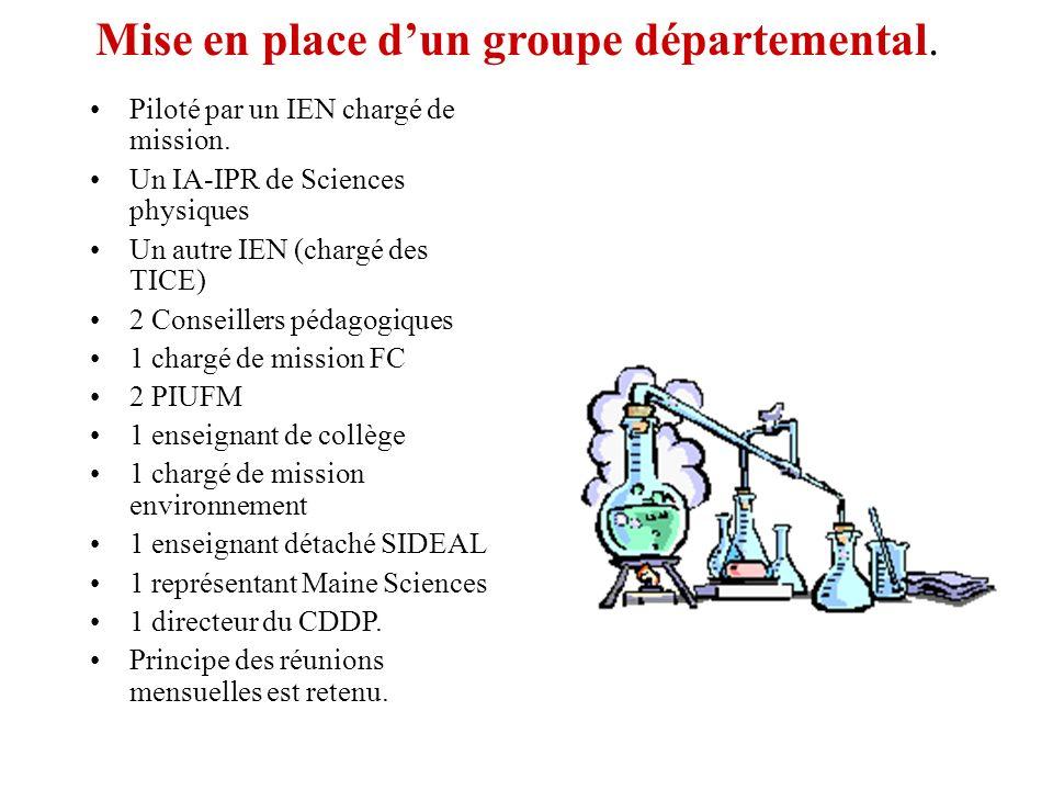 Mise en place d'un groupe départemental.