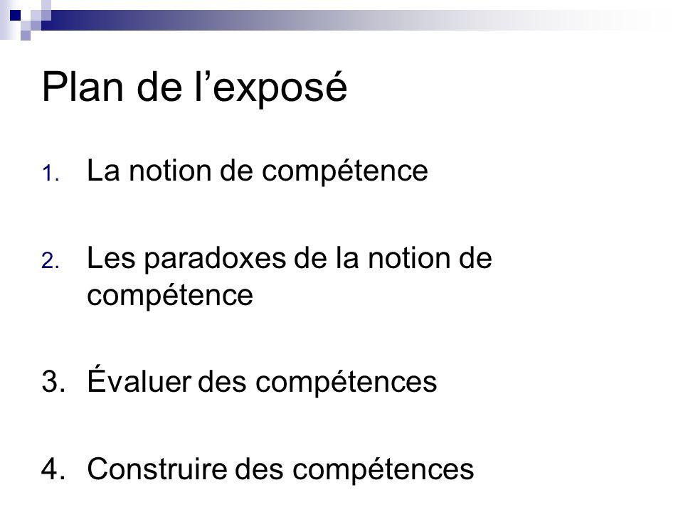 Plan de l'exposé La notion de compétence