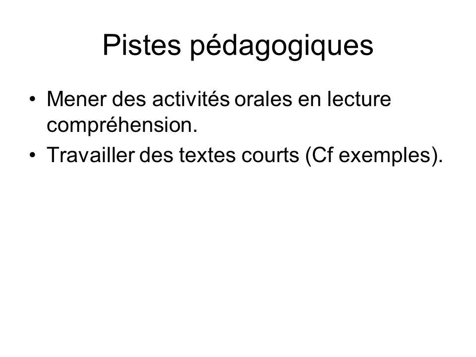 Pistes pédagogiques Mener des activités orales en lecture compréhension.