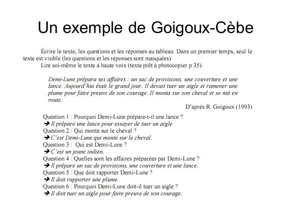 Un exemple de Goigoux-Cèbe