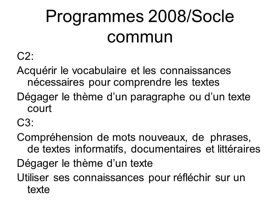 Programmes 2008/Socle commun