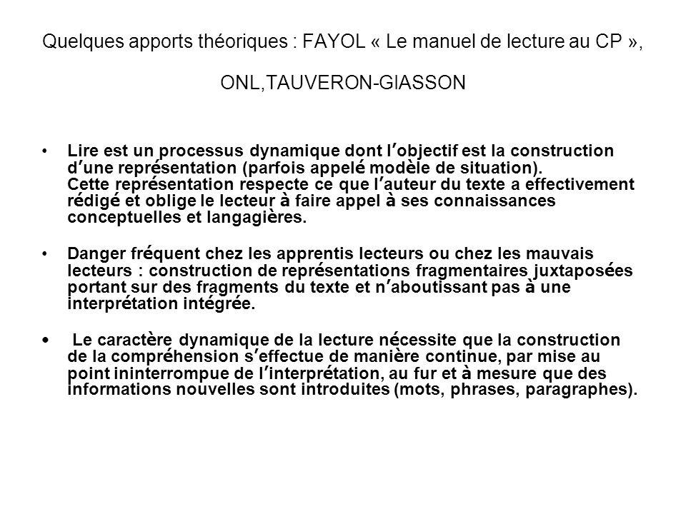 Quelques apports théoriques : FAYOL « Le manuel de lecture au CP », ONL,TAUVERON-GIASSON