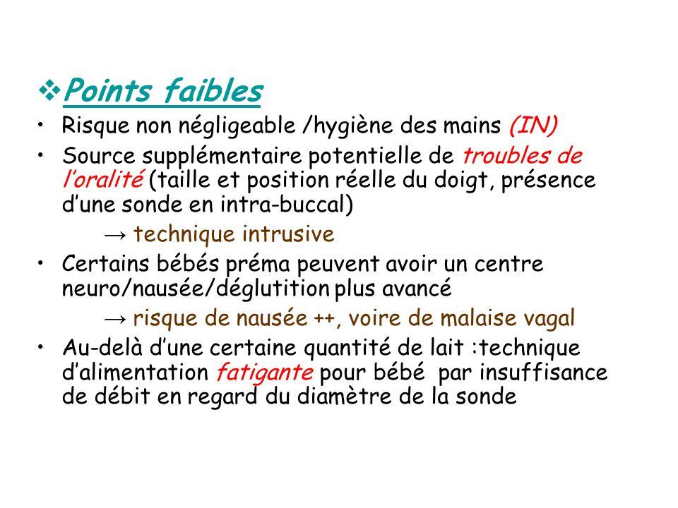 Points faibles Risque non négligeable /hygiène des mains (IN)
