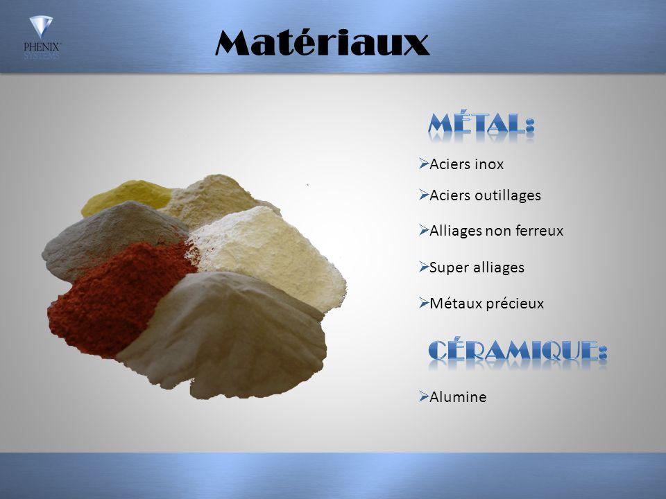 Matériaux Métal: Céramique: Aciers inox Aciers outillages