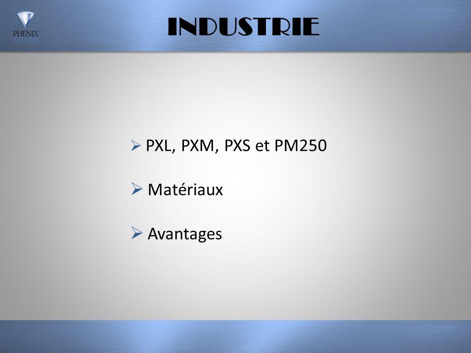 INDUSTRIE PXL, PXM, PXS et PM250 Matériaux Avantages