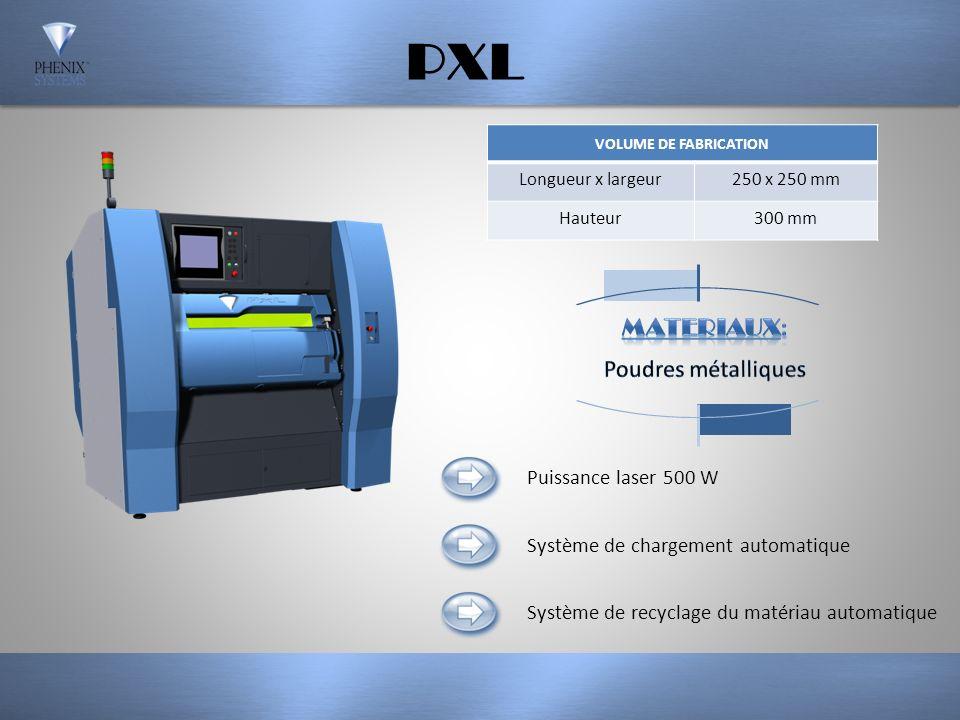 PXL MATERIAUX: Poudres métalliques Puissance laser 500 W