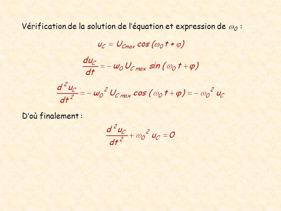 Vérification de la solution de l'équation et expression de w0 :