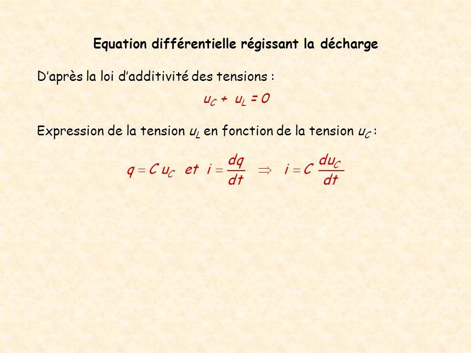 Equation différentielle régissant la décharge