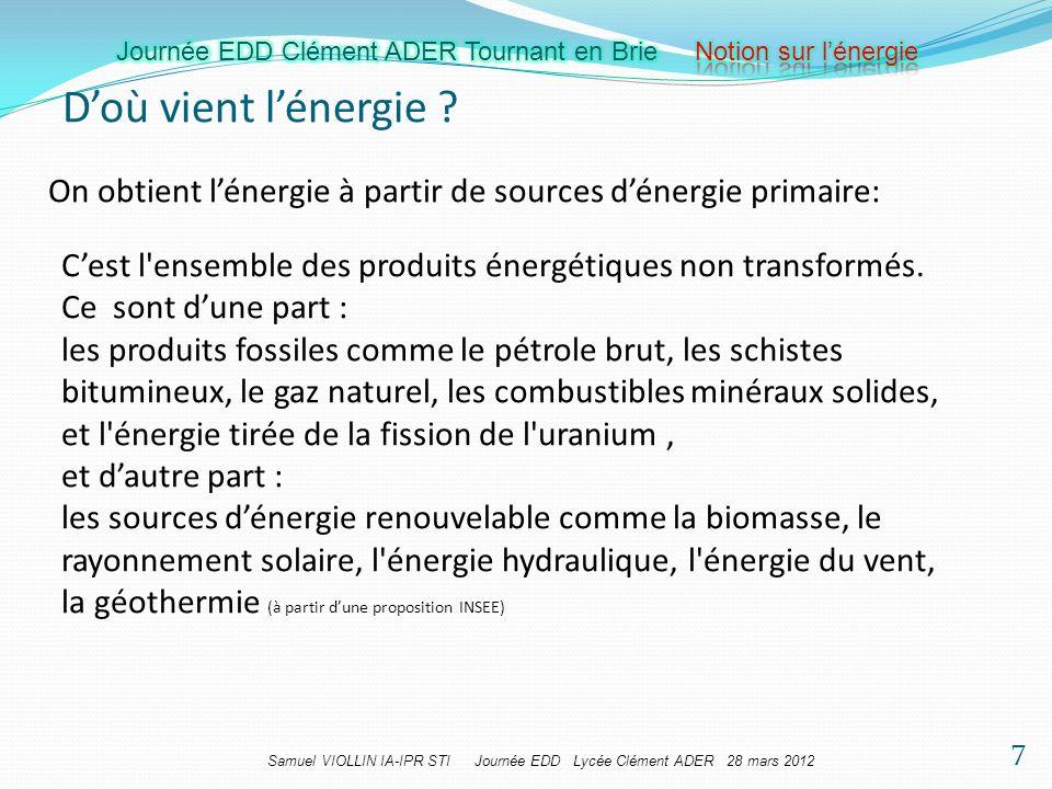 D'où vient l'énergie On obtient l'énergie à partir de sources d'énergie primaire: