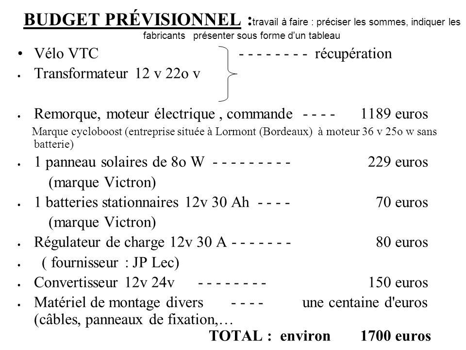 BUDGET PRÉVISIONNEL :travail à faire : préciser les sommes, indiquer les fabricants présenter sous forme d un tableau