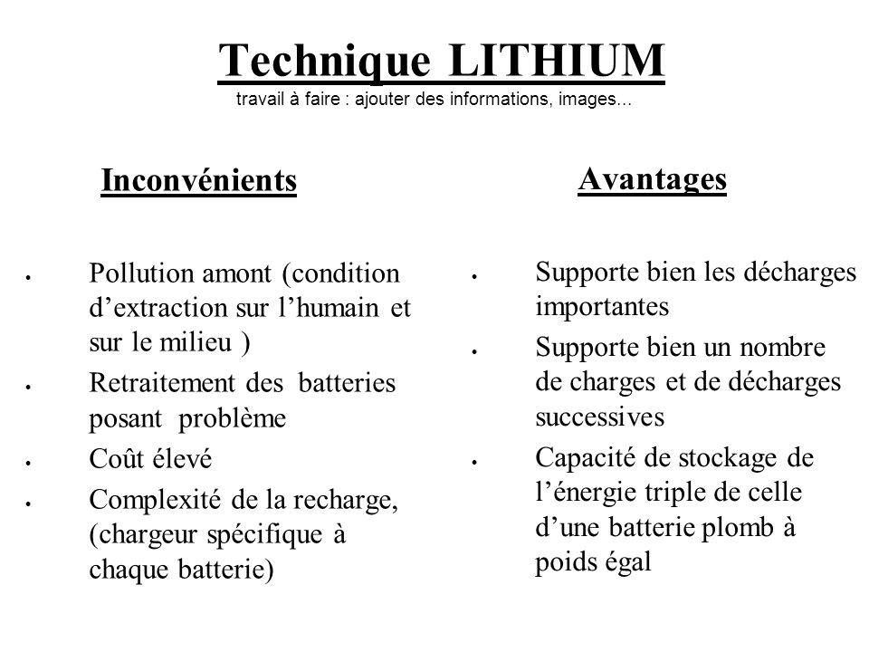 Technique LITHIUM travail à faire : ajouter des informations, images...