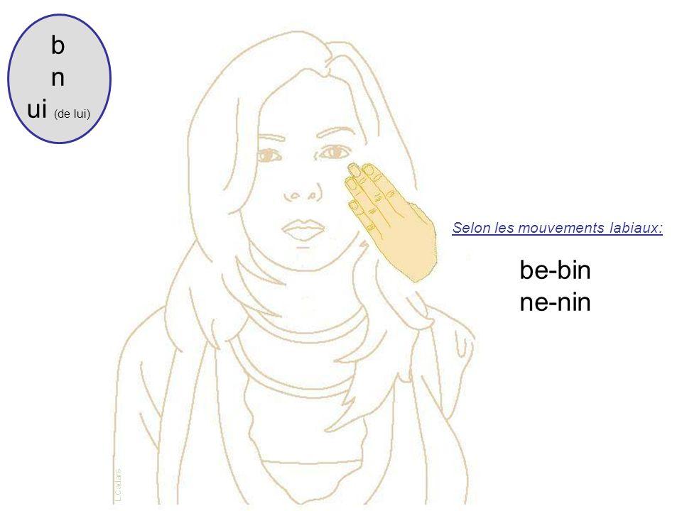 b n ui (de lui) Selon les mouvements labiaux: be-bin ne-nin L.Cadars