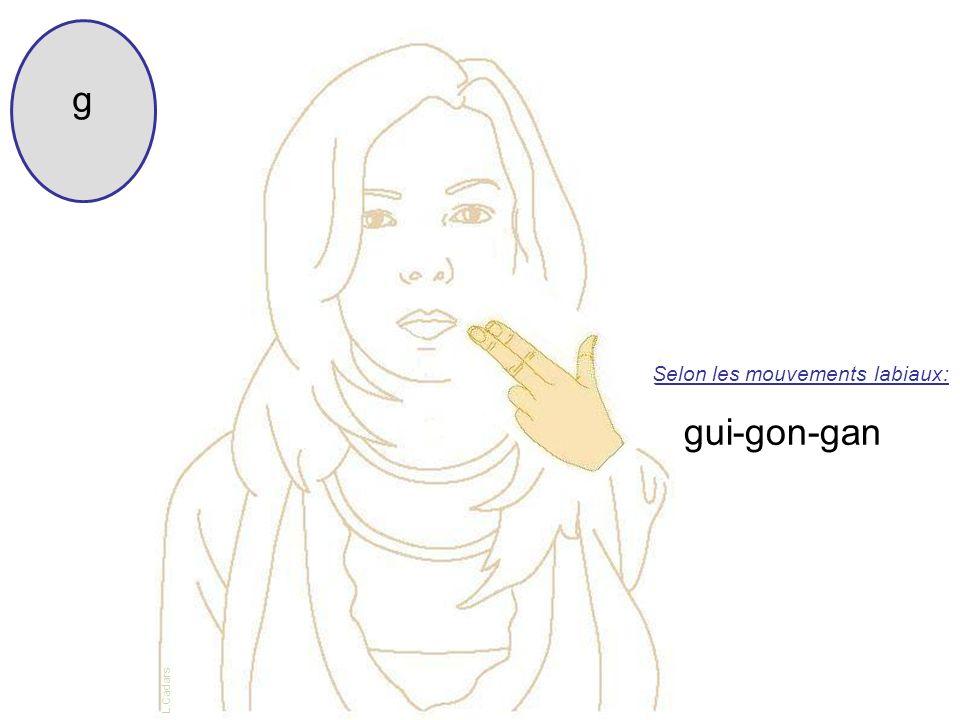 g Selon les mouvements labiaux: gui-gon-gan L.Cadars