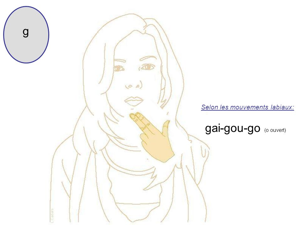 g Selon les mouvements labiaux: gai-gou-go (o ouvert) L.Cadars