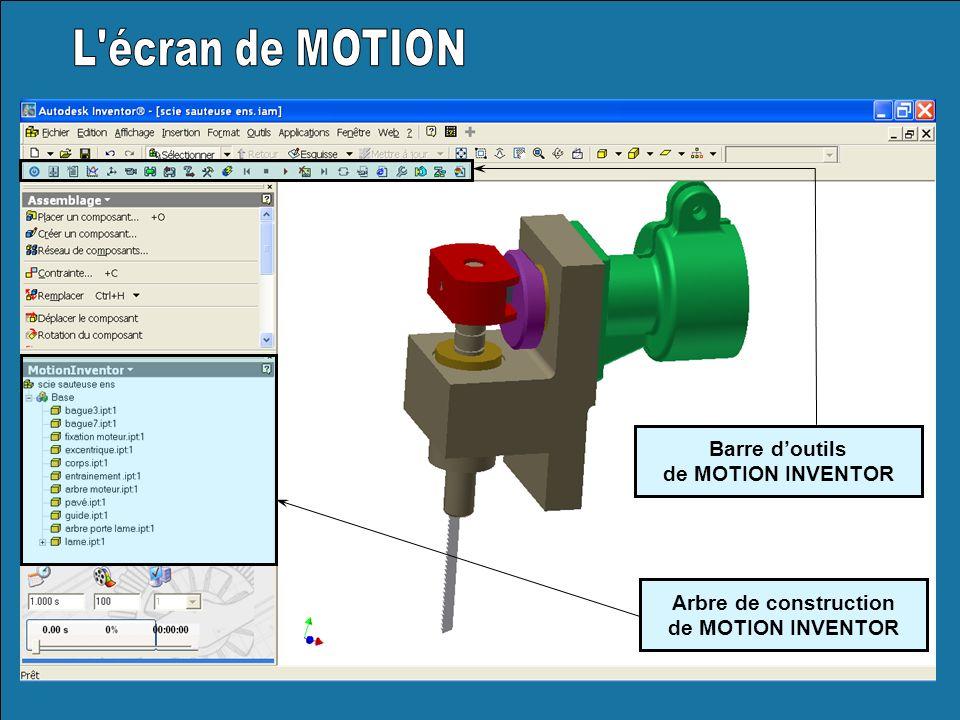 L écran de MOTION Barre d'outils de MOTION INVENTOR