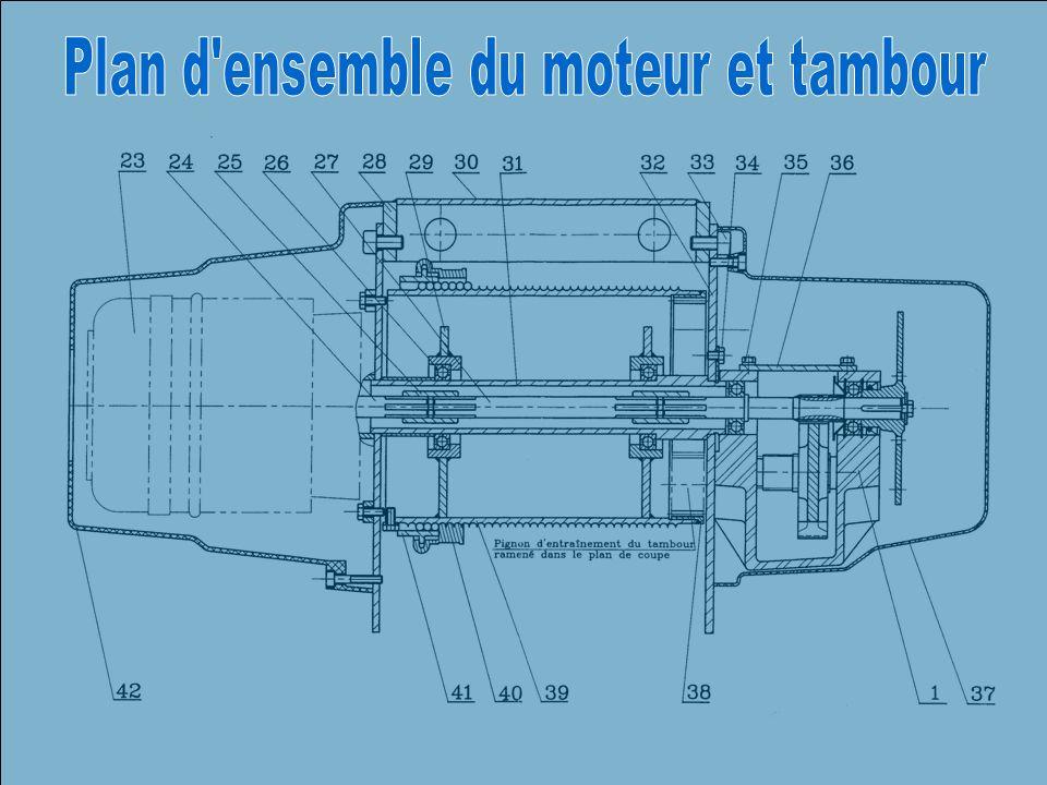 Plan d ensemble du moteur et tambour