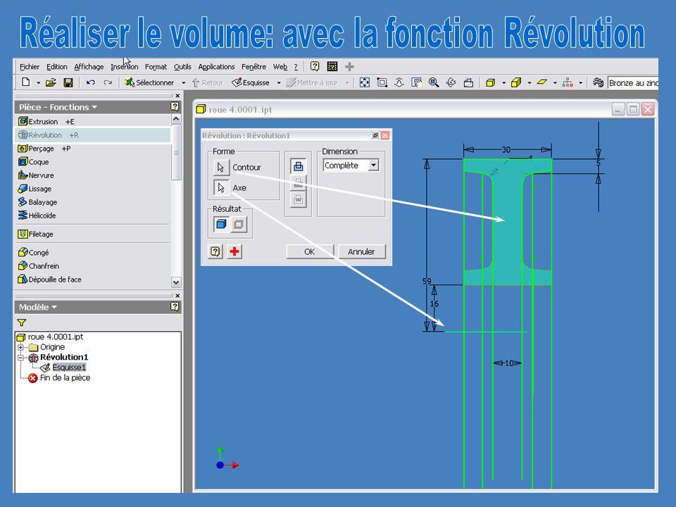 Réaliser le volume: avec la fonction Révolution