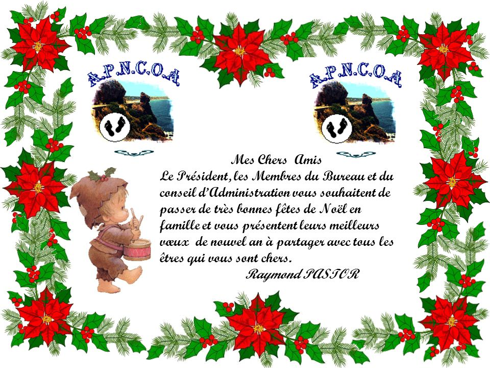Mes Chers Amis Le Président, les Membres du Bureau et du conseil d'Administration vous souhaitent de passer de très bonnes fêtes de Noël en famille et vous présentent leurs meilleurs vœux de nouvel an à partager avec tous les êtres qui vous sont chers.